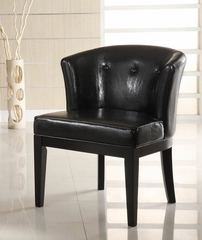 3116 Ovation Stationary Club Chair in Black Leather / Ebony - Armen Living - LC3116CLBCBL