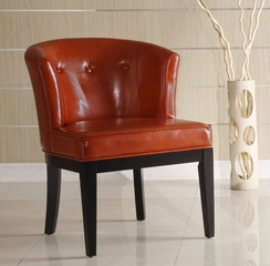 3116 Ovation Stationary Club Chair in Sienna Leather / Ebony - Armen Living - LC3116CLBCRE