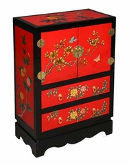 "32"" Chinese Storage Cabinet with Peony Flowers in Black and Red Lacquer - frc1205"