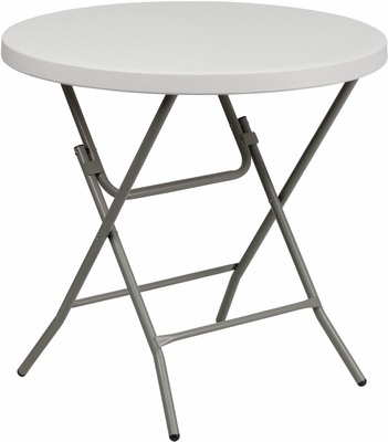 32'' Round Granite White Plastic Folding Table  - RB-32R-GW-GG