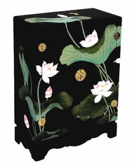 "33"" Chinese Storage Cabinet with Lotus Flowers in Black Lacquer - frc1201"