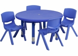 33'' Round Adjustable Blue Plastic Activity Table Set - YU-YCX-0073-2-ROUND-TBL-BLUE-E-GG