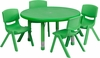 33'' Round Adjustable Green Plastic Activity Table Set - YU-YCX-0073-2-ROUND-TBL-GREEN-E-GG