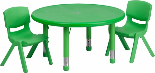 33'' Round Adjustable Green Plastic Activity Table Set - YU-YCX-0073-2-ROUND-TBL-GREEN-R-GG