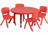 33'' Round Adjustable Red Plastic Activity Table Set- YU-YCX-0073-2-ROUND-TBL-RED-E-GG