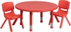 33'' Round Adjustable Red Plastic Activity Table Set - YU-YCX-0073-2-ROUND-TBL-RED-R-GG