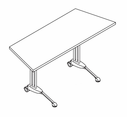 34 Inch Adjustable Trapezoid Table in Nebula Gray - Mayline Office Furniture - TT60TANGRBLK
