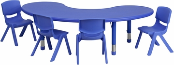 35''W x 65''L Adjustable Half-Moon Blue Activity Table Set - YU-YCX-0043-2-MOON-TBL-BLUE-E-GG