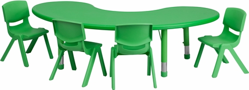 35''W x 65''L Adjustable Half-Moon Green Activity Table Set - YU-YCX-0043-2-MOON-TBL-GREEN-E-GG
