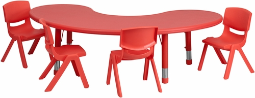 35''W x 65''L Adjustable Half-Moon Red Activity Table Set - YU-YCX-0043-2-MOON-TBL-RED-E-GG
