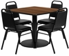 36''  5PC Square Walnut Table & Black Banquet Chairs Set - RSRB1012-GG