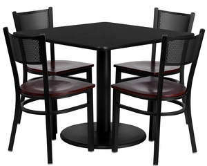 36'' Black Laminate Table Set with 4 Grid Back Metal Chairs - MD-0008-GG
