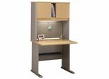 "36"" Desk and Hutch Set - Series A Light Oak Collection - Bush Office Furniture - WC64336-37"