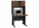 "36"" Desk and Hutch Set - Series A Walnut Collection - Bush Office Furniture - WC25536-37"