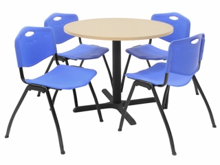 "36 Inch Round Table and 4 ""M"" Stack Chairs Set - TBR36BESC47"