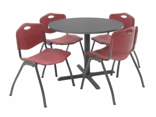 "36 Inch Round Table and 4 ""M"" Stack Chairs Set - TBR36GYSC47"