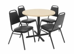36 Inch Round Table and 4 Restaurant Stackers Set - TBR36BESC29BK