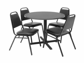 36 Inch Round Table and 4 Restaurant Stackers Set - TBR36GYSC29BK