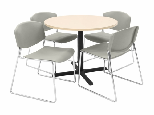 36 Inch Round Table and 4 Zeng Stack Chairs Set - TBR36BESC44