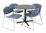 36 Inch Round Table and 4 Zeng Stack Chairs Set - TBR36GYSC44