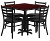 36'' Mahogany Laminate Table Set with 4 Ladder Back Metal Chairs - Black Vinyl Seat - HDBF1014-GG