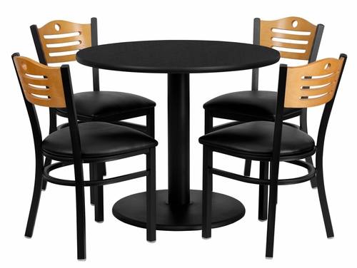 36'' Round Black Laminate Table Set with 4 Wood Slat Back Metal Chairs - MD-0009-GG