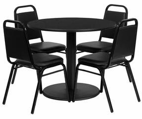 36'' Round Black Table and 4 Black Trapezoidal Back Banquet Chairs - RSRB1001-GG