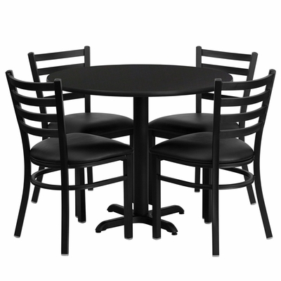 36'' Round Black Table Set with 4 Black Vinyl Seat Metal Chairs - HDBF1029-GG
