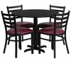 36'' Round Black Table Set with 4 Burgundy Vinyl Seat Metal Chairs - HDBF1005-GG
