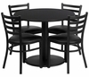 36'' Round Black Table Set with 4 Metal Chairs - RSRB1029-GG