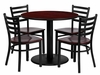36'' Round Mahogany 5 PC Table Set with Mahogany Wood Seats - MD-0004-GG