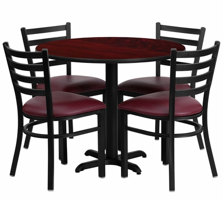 36'' Round Mahogany Laminate Table Set with 4 Metal Chairs - HDBF1006-GG
