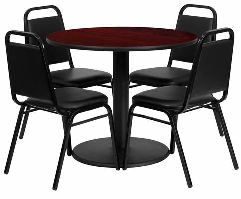 36'' Round Mahogany Table and 4 Black Trapezoidal Back Banquet Chairs - RSRB1002-GG