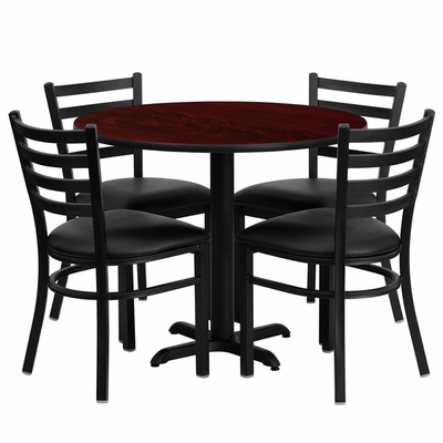 36'' Round Mahogany Table Set with 4 Black Vinyl Seat  Metal Chairs - HDBF1030-GG