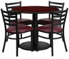 36'' Round Mahogany Table Set with 4 Burgundy Vinyl Metal Chairs - RSRB1006-GG
