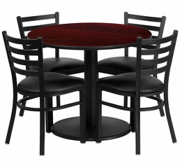 36'' Round Mahogany Table Set with 4 Metal Chairs - RSRB1030-GG