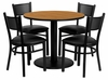 36'' Round Natural Laminate Table Set with 4 Metal Chairs - MD-0006-GG