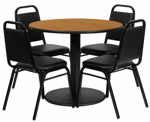 36'' Round Natural Table and 4 Black Trapezoidal Back Banquet Chairs - RSRB1003-GG