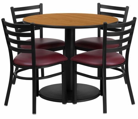 36'' Round Natural Table Set with 4 Burgundy Vinyl Seat Chairs - RSRB1007-GG
