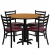 36'' Round Natural Table Set with 4 Burgundy Vinyl Seat Metal Chairs - HDBF1007-GG