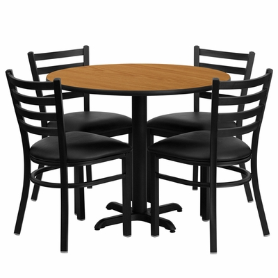 36'' Round Natural Table Set with Ladder Back Metal Chairs - HDBF1031-GG