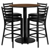 36'' Round Walnut Table Set with 4 Black Vinyl Seat Metal Bar Stools - MD-0011-GG