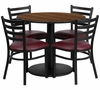 36'' Round Walnut Table Set with 4 Burgundy Chairs - RSRB1008-GG