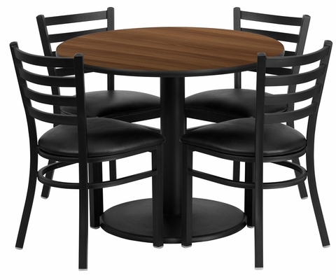 36'' Round Walnut Table Set with 4 Metal Chairs - RSRB1032-GG