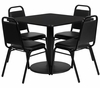 36'' Square Black Table & 4 Black Banquet Chairs - RSRB1009-GG