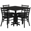 36'' Square Black Table Set with 4 Ladder Back Metal Chairs - Black Vinyl Seat - HDBF1013-GG