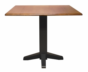 "36"" Square Dual Drop Leaf Pedestal Table in Black / Cherry - T57-36SDP"