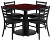 36'' Square Mahogany Table Set with 4 Chairs - MD-0001-GG