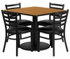 36'' Square Natural Laminate Table with 4 Ladder Back Metal Chairs - RSRB1015-GG