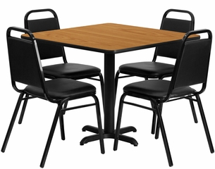 36'' Square Natural Table Set with 4 Black Banquet Chairs - HDBF1011-GG